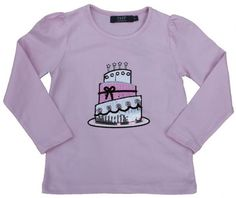 T-shirt with birthday cake in sequins. Danish designed fashion for kids.