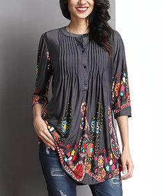 Charcoal Garden Notch Neck Pin Tuck Tunic #zulily #zulilyfinds