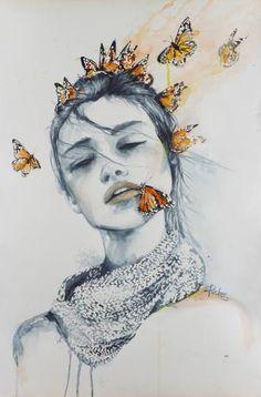 "Art Inspiration: Lovely Watercolour Illustration ""Butterfly Kisses"" by Sara Riches via Redbubble. Drawing Eyes, Painting & Drawing, Kiss Painting, Butterfly Kisses, Butterflies, Butterfly Face, Pintura Graffiti, Art Fractal, Arte Sketchbook"