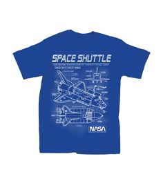 Nasa Space Shuttle Schematics Adult T-Shirt - Blue (Medium): Officially licensed Nasa adult tee featuring a schematic blueprint of a Nasa Space Shuttle. Johnson Space Center, Space Projects, Space Shuttle, Nasa Space, Unisex, Tees, Mens Tops, How To Wear, T Shirt