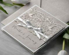 Custom listing (100) Eco Lace Wedding Invitation, Pocket Fold Invitations , Vintage Wedding invitation, Rustic Wedding Invitation