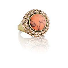 Retro Pavé Cocktail Ring. Peach Turquoise. Get it at: https://www.chloeandisabel.com/boutique/cassandra