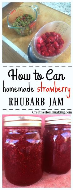 Easy instructions for making strawberry rhubarb jam from fresh strawberries and rhubarb from the garden.