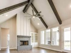 Living room with vaulted ceiling wood beams recessed lighting and hanging fan Living Room Fans, Vaulted Living Rooms, Living Room Ceiling Fan, Living Room Lighting, Home Living Room, Vaulted Ceiling Bedroom, Vaulted Ceiling Lighting, Shiplap Ceiling, Vaulted Ceilings