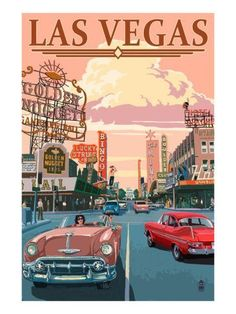 Cruising Fremont Street in downtown Las Vegas. Retro Art Poster by Lantern Press at AllPosters.com - Saiba mais sobre a #Strip de #LasVegas antes de fazer a sua #viagem em http://mundodeviagens.com/strip-de-las-vegas/