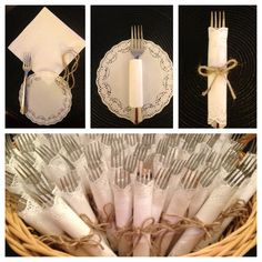 The dessert forks are wrapped and ready for the anniversary party! Fork & napkin, wrapped in paper doily and tied with twine! 50th Wedding Anniversary, Anniversary Parties, Wedding Centerpieces, Wedding Decorations, Baptism Decorations, Wedding Ideas, First Communion Decorations, Paper Lace Doilies, Simple Elegant Wedding