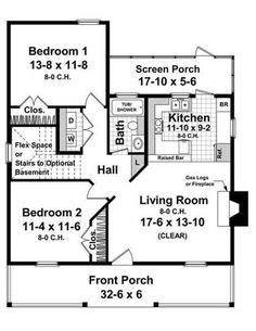 Farmhouse Style House Plan - 2 Beds 1 Baths 950 Sq/Ft Plan #21-232 Floor Plan - Main Floor Plan - Houseplans.com