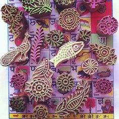 Carved wood stamps from India. Try doing these on rubber or erasers.