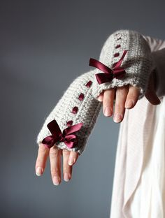 ~*no pattern*~ Crochet Fingerless Gloves Grey linen Mittens Arm Warmers satin ribbon red / burgundy wine cloud Silver Rain bow. Crochet Hand Warmers, Crochet Mittens, Crochet Gloves, Knit Crochet, Crochet Game, Crochet Crafts, Crochet Projects, Diy Crafts, Fingerless Mitts
