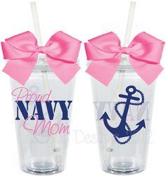 Proud Navy Wife Wifey Mom Girlfriend 16oz Personalized Acrylic Tumbler. $15.00, via Etsy.