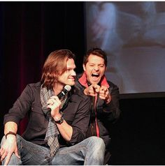 Jared and an overly excited Misha. Lol