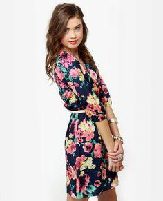 Flower print dress (lulus.com)