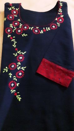 To customize whatsapp 9043230015 for Saree, blouse and Embroidery On Kurtis, Hand Embroidery Dress, Kurti Embroidery Design, Embroidery Neck Designs, Hand Embroidery Videos, Embroidered Clothes, Salwar Neck Designs, Churidar Designs, Dress Neck Designs