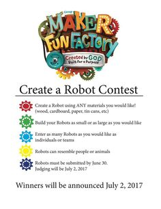 Fun contest idea for the week. Maybe do this at home and have them ready at the end of the week. Gadgets And Gizmos Vbs, Kids Gadgets, Vbs Crafts, Church Crafts, Vacation Bible School 2017, Maker Fun Factory Vbs, Cave Quest, 2017 Vbs, Vbs Themes