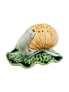 Show details for Toothpick Dispenser Snail Spoon Rest, Snail, 19th Century, Ceramics, Animals, Portuguese, Design, Decor, Pine Tree