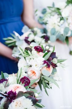 Fall bridesmaid bouquets with garden roses, smokebush, scabiosa, olive, snowberry, and greenery