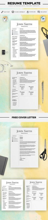 Modern Resume Templates Resume Template - CV Template with Cover Letter - MS Word on Mac / PC - Design - Professional - Best Resume Templates - Instant Download