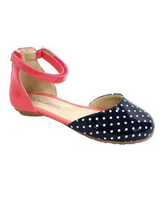 Another great find on #zulily! Coral & Navy Polka Dot Ankle-Strap Flat #zulilyfinds
