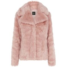 OASIS Pink Faux Fur Coat ($93) ❤ liked on Polyvore