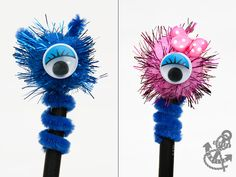 Pom Pom Pencil Toppers - One Eye Monsters Pencil Topper Crafts, Pencil Crafts, Craft Stick Crafts, Diy Crafts, Market Day Ideas, Pen Toppers, Kids Market, Fete Ideas, Quick And Easy Crafts