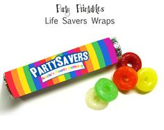 Rainbow Party - Personalized  Life Saver Roll Wraps - DIY Party Printables - Digital Download and Print. $8.00, via Etsy.