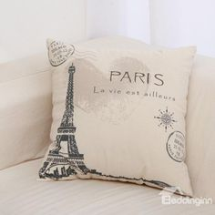 On the Road-Eiffel Tower Natural Linen Decorative Pillowcase (10511116) on sale, Buy Retail Price Throw Pillow Cases at Beddinginn.com