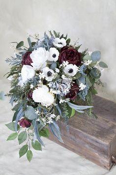 Silk Bridal Bouquet, Wedding Bouquet, Burgundy Bouquet, Cascade Bouquet, Anemone Bouquet, White Bouq