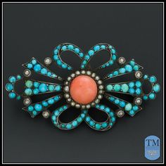 Antique Victorian Persian Turquoise Coral & Seed Pearl Brooch (Ruby ...
