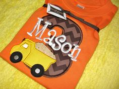 Dump Truck Construction Birthday Shirt by bloomingbabies on Etsy, $37.00