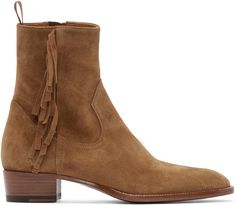 Ankle-high suede boots in tan. Almond toe. Fringed trim at outer side. Textile pull-tab at heel collar. Zip closure at inner side. Leather sole. Tonal stitching.