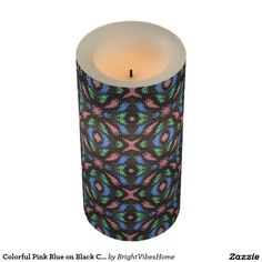 Colorful Pink Blue on Black Confetti Pattern Flameless Candle