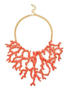 Coral Shape Bib Necklace by Kenneth Jay Lane at Gilt