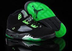 "2012 New Air Jordan 5 ""Quai 54"" Black/Radiant Green J5-131"