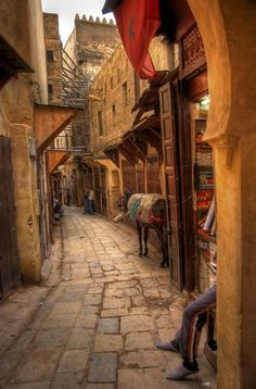this is in Morocco but such narrow streets are common in other Muslim and in all Mideast countries too