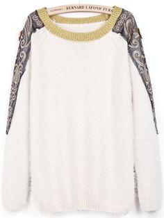 Apricot Contrast Metallic Yoke Embroidered Sweater - Sheinside.com