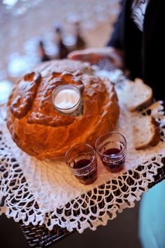 """Polish Wedding Ceremony Tradition   'sharing of bread, salt, and wine.' The bread means """"may you never go hungry."""" The wine means """"may you enjoy the sweetness in life."""" The salt is to overcome the bitterness in life. A silver coin signifies wealth a good health."""