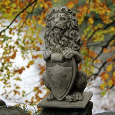 Lion with shield garden ornament statue #sculpture #stone cast bespoke #unique ag,  View more on the LINK: http://www.zeppy.io/product/gb/2/262708282246/