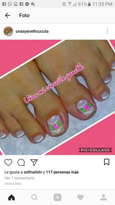 Pedicure Nail Designs, Foot Pedicure, Manicure And Pedicure, Cute Pedicures, Wow Nails, Pretty Designs, Toe Nail Designs, Toe Nail Art, Fabulous Nails