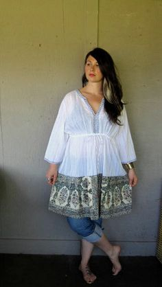 upcycled clothing Funky peasant dress Tattered Artsy Hippie dress Romantic Gypsy Bohemian frock Eco plus size top tunic XLarge-1X-2X-3X