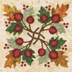 fall quilting patterns   Blk # 9 Pomegranate Wreath for Baltimore Autumn quilt pattern by Pearl ...
