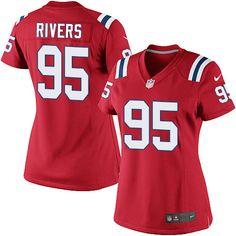Women's Nike New England Patriots #95 Derek Rivers Limited Red Alternate NFL Jersey