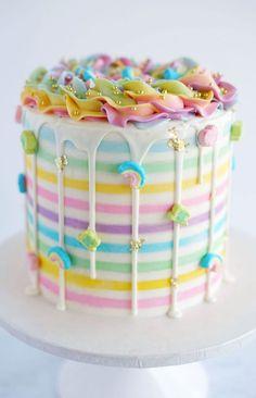 Rainbow Party Cake in Rainbow Cake Design - Cake Design Ideas Pretty Cakes, Cute Cakes, Beautiful Cakes, Amazing Cakes, Sweet Cakes, Rainbow Food, Rainbow Cakes, Unicorn Rainbow Cake, Rainbow Desserts