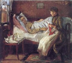 """Lovis Corinth, """"Franz Corinth on His Sickbed"""". painting, figure, man, woman, laying, side, sitting, holding, interior"""