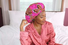 "LUXBONNET Satin lined sleep bonnet, stylish sleep cap, African print bonnet, extra large size, 16 inches. This large bonnet fits your head perfectly, without falling off during the night, due to the broad and comfortable elastic band. This satin lined bonnet is part of the collection"" A tribute to Africa"" and is named after countries or cities of the African continent. This style is named Nigeria."