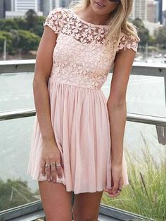 Shop Pink Short Sleeve Hollow Floral Crochet Pleated Dress from choies.com .Free shipping Worldwide.