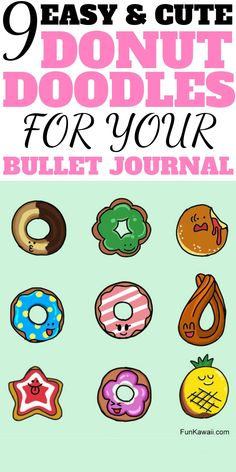 You will love to draw these deliciously easy donut doodles in your bullet journal! These Donut Bullet journal doodles will bring your journal to life. & make you super hungry! The best part is, you'll find it really easy to learn to draw them! Doodle For Beginners, Easy Drawings For Beginners, Food Doodles, Kawaii Doodles, Doodle Inspiration, Bullet Journal Inspiration, Journal Ideas, Bullet Journal Junkies, Bullet Journal Layout