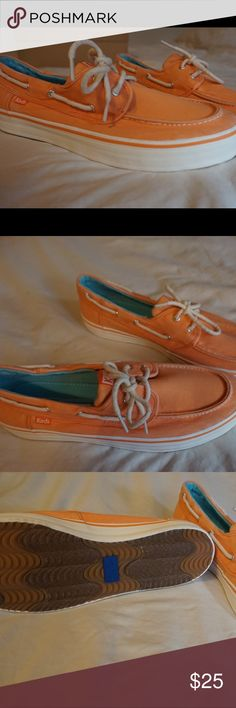Keds boat shoes NEVER WORN BEFORE! Women's Ked slip on shoes. They're a light orange/ coral color. The shoes will come in their box. ❌no trades 👍open to offers Keds Shoes