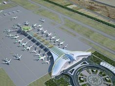 Turkmenistan unveils bird-shaped airport in Ashgabat - Democratic Underground Futuristic City, Futuristic Technology, Futuristic Architecture, Amazing Architecture, Office Building Architecture, Architecture Design, Istanbul New Airport, Airport Design, High Rise Building