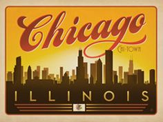 Chicago: Horizontal Skyline - This Special Edition horizontal print features a skyline of Chi-Town with the Illinois State flag down below<strong>.</strong> In 2010, Joel Anderson, founder of Anderson Design Group and  the Art & Soul Of America Collection set out to create a series of  classic travel posters that celebrates the history and charm of  America's greatest cities and national parks.