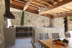 Evier en béton ciré, cuisine d'extérieur en béton ciré